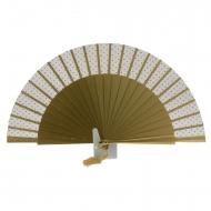 Cerimonia fan in legno oro con tulle e topitos