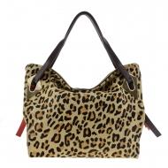 Maxi borsa in pelle leopardata marrone e marrone