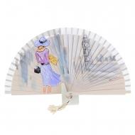 Vintage beige fan lady e torre dell'orologio