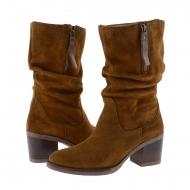 Stivali 3/4 in crosta di pelle e zip esterna