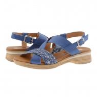 Sandali con cinturini incrociati in pelle nabuk blu scuro