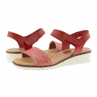 Sandali con zeppa in pelle liscia e rafia rossa con velcro