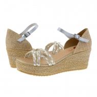 Sandali in pelle argento e rafia con tacco Porronet