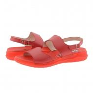 Sandali rossi con zeppa in pelle liscia C-5623 Wonders