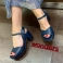 Sandali in pelle blu navy F-5873-P Wonders 118063