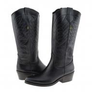 Stivali in pelle nera stile cowboy Valverde