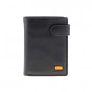 Portafoglio spilla in pelle nera bandiera Spagna