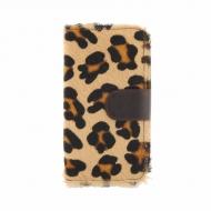 Portafoglio con cerniera in pelle di leopardo