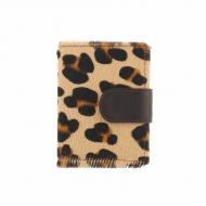 Portafoglio e portamonete in pelle leopardata