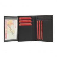 Portafoglio 9 carte in pelle con strisce incise