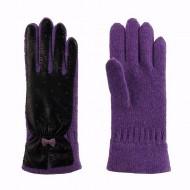Di lana e guanti in pelle a pois viola