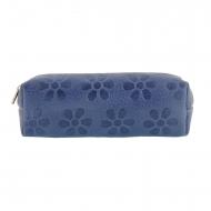 Borsa in pelle blu allungata con fiori