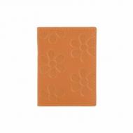 Titolare della carta in pelle con fiori incisi