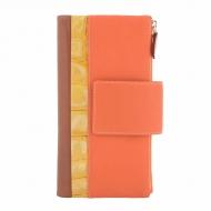 Grande portafoglio con due tasche in pelle tricolore