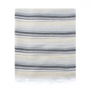 Stola stampata a righe beige e grigie